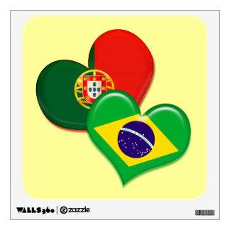 Portugal and Brazil hearts Wall Decor