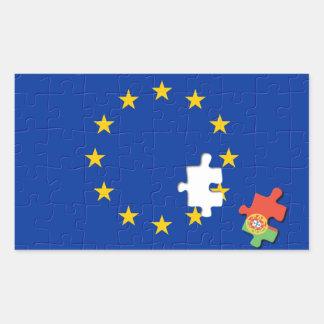Portugal and European Union Rectangular Sticker