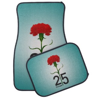 Portugal and red carnation car mat