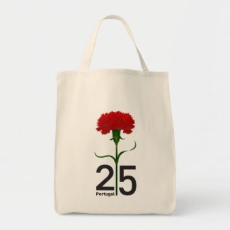 Portugal and red carnation grocery tote bag