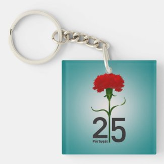Portugal and red carnation Double-Sided square acrylic keychain