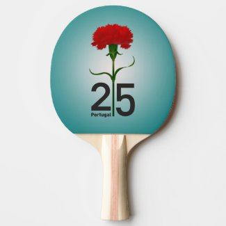 Portugal and red carnation Ping-Pong paddle