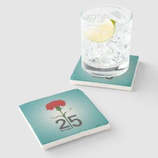 Portugal and red carnation stone coaster