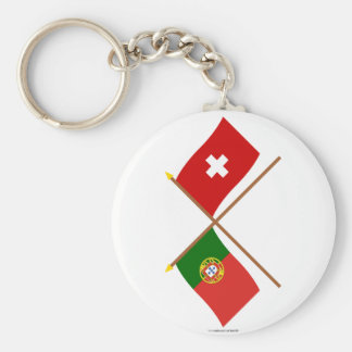 Portugal and Switzerland Crossed Flags Basic Round Button Keychain
