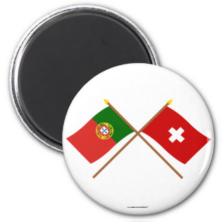 Portugal and Switzerland Crossed Flags Magnets