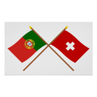 Portugal and Switzerland Crossed Flags Poster