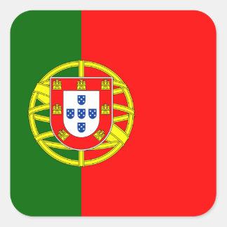 Portugal - bandera portuguesa pegatina cuadrada