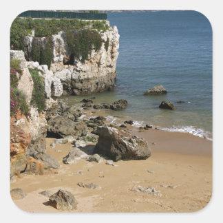 Portugal, Cascais. Praia da Rainha, a beach in Square Sticker