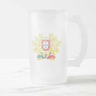 Portugal Coat Of Arms Frosted Glass Beer Mug