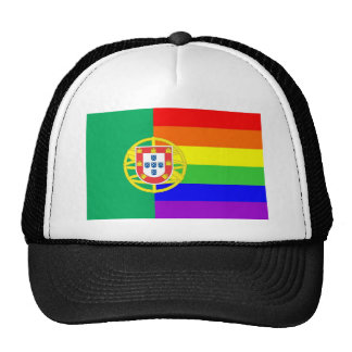 portugal country gay proud rainbow flag homosexual trucker hat