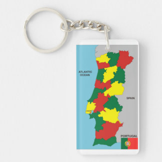 portugal country political map flag keychain