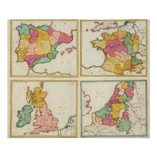 Portugal, España, Alemania, Inglaterra, Scottland Poster