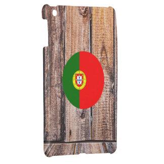 Portugal flag circle on wood background iPad mini cover