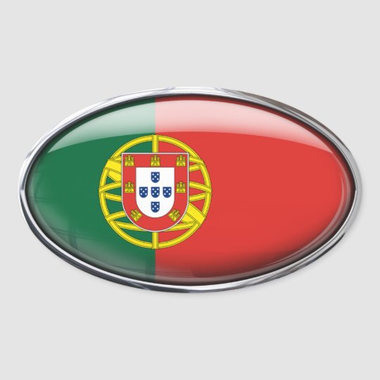Portugal Flag Glass Oval Oval Sticker