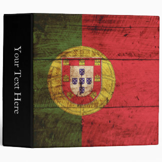 Portugal Flag on Old Wood Grain Binder