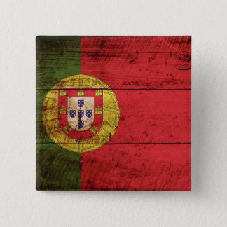 Portugal Flag on Old Wood Grain Button