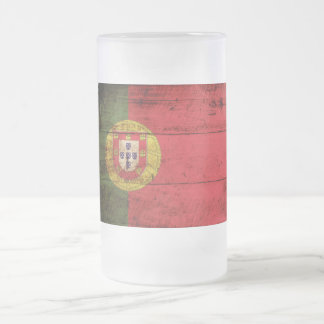 Portugal Flag on Old Wood Grain Frosted Glass Beer Mug