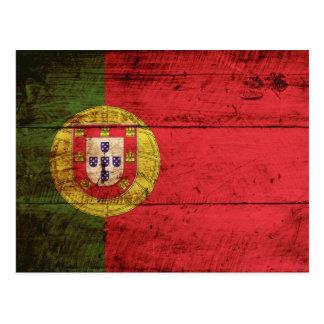 Portugal Flag on Old Wood Grain Postcard