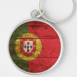Portugal Flag on Old Wood Grain Silver-Colored Round Keychain