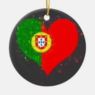 Portugal Flag Shining Unique Double-Sided Ceramic Round Christmas Ornament