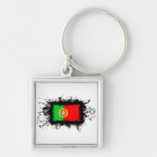 Portugal Flag Silver-Colored Square Keychain