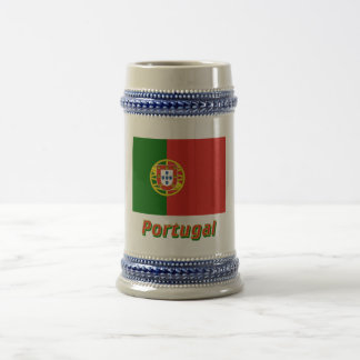 Portugal Flag with Name Beer Stein