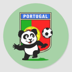 Round Sticker with Portugal Football Panda design