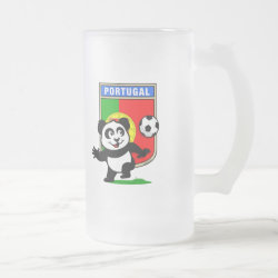 Frosted Glass Mug with Portugal Football Panda design