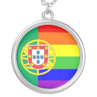 portugal gay proud rainbow flag homosexual round pendant necklace