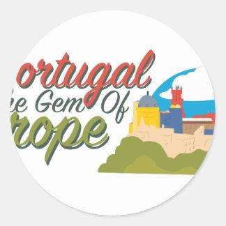 Portugal Gem Of Europe Classic Round Sticker