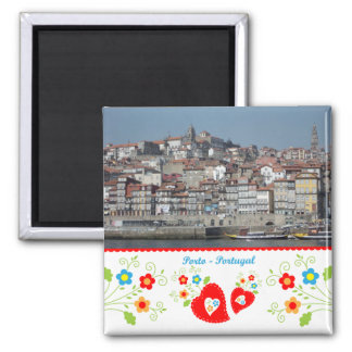 Portugal in photos - Oporto by the river 2 Inch Square Magnet