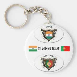 portugal, india, FLAGS, IN GOD WE TRUST Basic Round Button Keychain