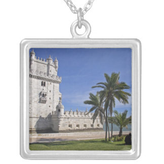 Portugal, Lisbon. Belem Tower, a UNESCO World 2 Silver Plated Necklace