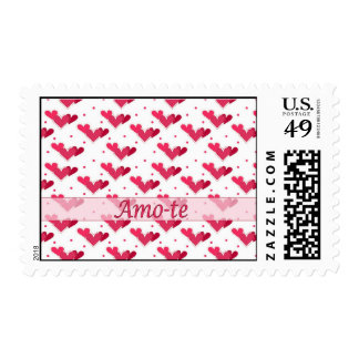 Portugal Love Red Hearts Dots White Stamp