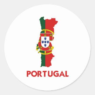 PORTUGAL MAP CLASSIC ROUND STICKER