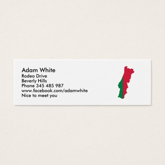 Portugal map flag mini business card