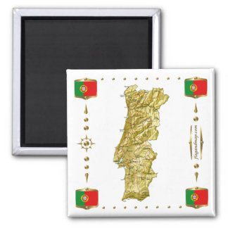 Portugal Map + Flags Magnet