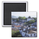 Portugal, Obidos. Elevated view of whitewashed 2 Inch Square Magnet
