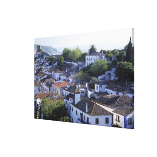 Portugal, Obidos. Elevated view of whitewashed Canvas Print