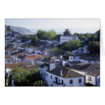 Portugal, Obidos. Elevated view of whitewashed Card