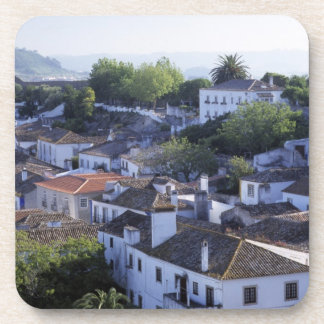 Portugal, Obidos. Elevated view of whitewashed Drink Coaster