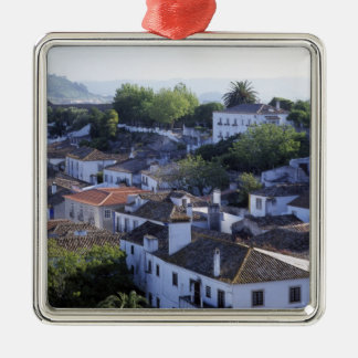 Portugal, Obidos. Elevated view of whitewashed Metal Ornament
