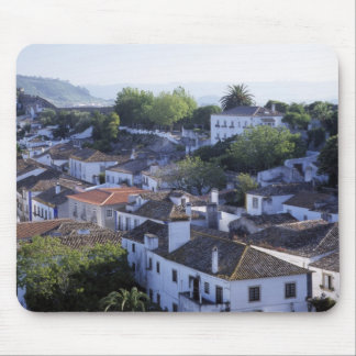 Portugal, Obidos. Elevated view of whitewashed Mouse Pad