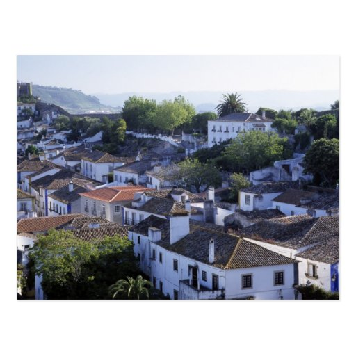 Portugal, Obidos. Elevated view of whitewashed Postcards
