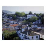 Portugal, Obidos. Elevated view of whitewashed Posters