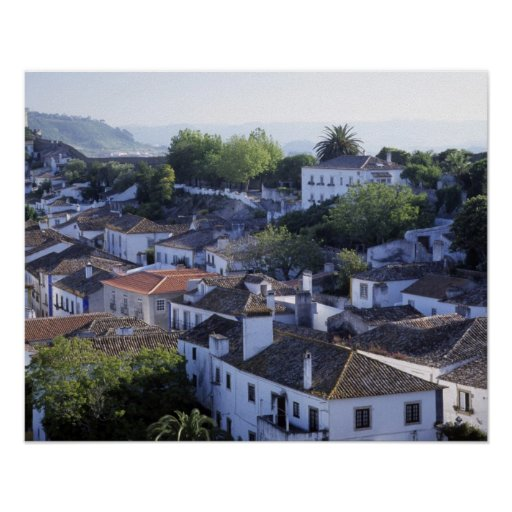 Portugal, Obidos. Elevated view of whitewashed Poster