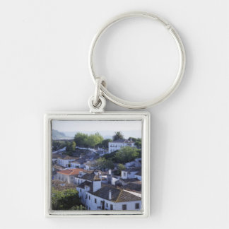 Portugal, Obidos. Elevated view of whitewashed Silver-Colored Square Keychain