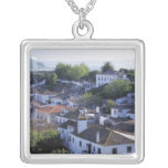 Portugal, Obidos. Elevated view of whitewashed Square Pendant Necklace