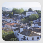 Portugal, Obidos. Elevated view of whitewashed Square Sticker