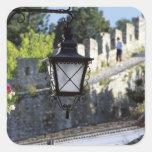 Portugal, Obidos. Farola y 14ta del hierro Calcomania Cuadradas Personalizadas